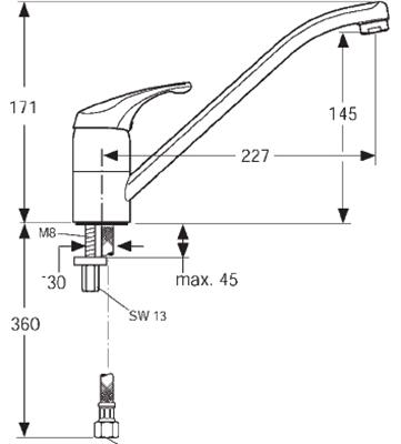 chrom mischbatterie ideal standard start de luxe einhebelmischer metallgriff ebay. Black Bedroom Furniture Sets. Home Design Ideas